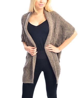 SUE & KRIS Beige Marled Open Shawl Cardigan - Women