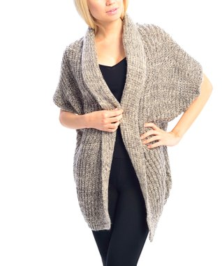 SUE & KRIS Black & White Textured Open Cardigan - Women