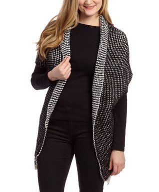 SUE & KRIS Burgundy & Black Textured Open Cardigan - Women