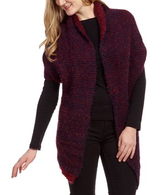 SUE & KRIS Camel & Black Textured Open Cardigan - Women