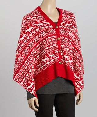 SUE & KRIS White Houndstooth Fringe Poncho - Women