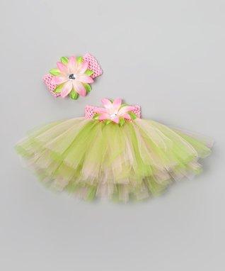 Pink & Apple Green Floral Tutu Set - Infant, Toddler & Girls