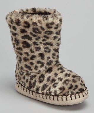 Carter's Taupe Cheetah Slipper Boot- Kids
