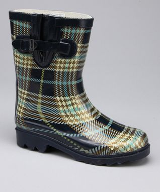 Navy Plaid Rain Boot