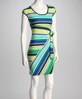 Avital Lime & Royal Side-Tie Dress