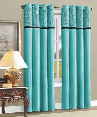 Teal Zebra Flocked Curtain Panel - Set of Two