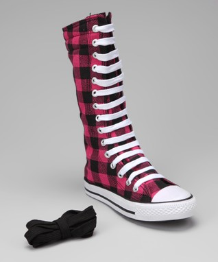 Collection'O Black & Hot Pink Plaid Knee-High Sneaker
