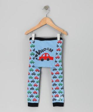 Doodle Pants Blue 'Vroom' Car Leggings - Infant