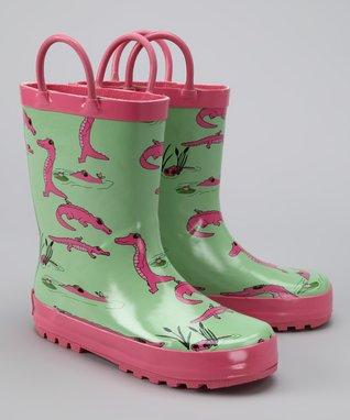 Foxfire Green & Pink Gator Rain Boot