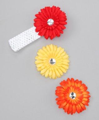 Red & Yellow Rhinestone Flower Headband Set