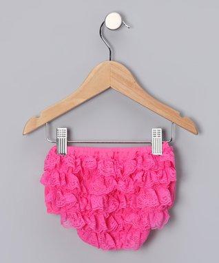 Bubble Gum Pink Lace Ruffle Diaper Cover - Infant