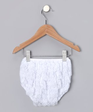 White Lace Ruffle Diaper Cover - Infant