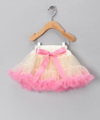 Ivory & Light Pink Bow Pettiskirt - Infant, Toddler & Girls