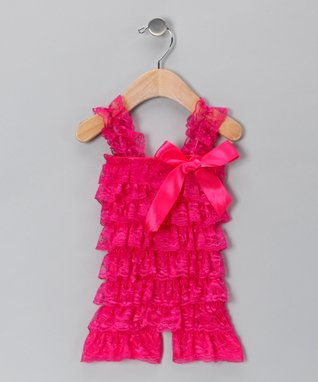 Burgundy Lace Ruffle Romper - Infant & Toddler