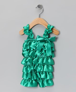 Emerald Green Lace Ruffle Romper - Infant & Toddler