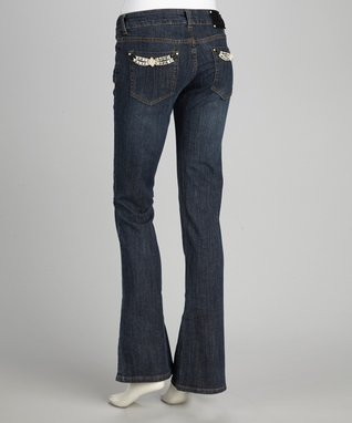 Katydid Collection Blue Fleur-de-Lis Bootcut Jeans - Women
