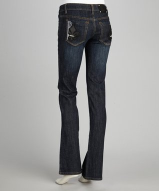 Katydid Collection Blue Rhinestone Fleur-de-Lis Bootcut Jeans - Women