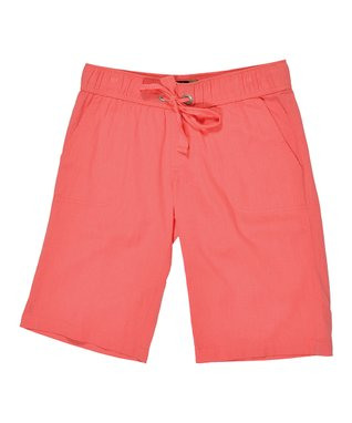 Coral Drawstring Bermuda Shorts