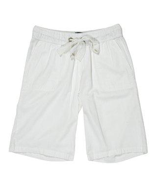 White Drawstring Bermuda Shorts