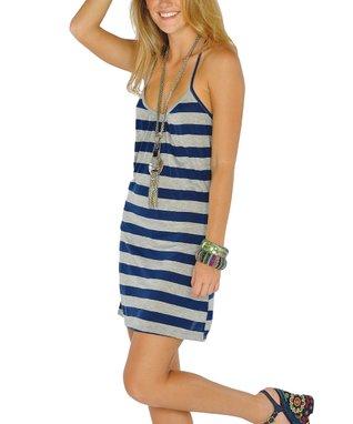 Navy Stripe Lace-Back Dress