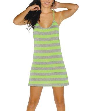 Neon Green Stripe Lace-Back Dress