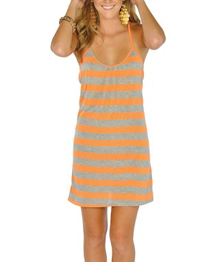 Neon Pink Stripe Lace-Back Dress