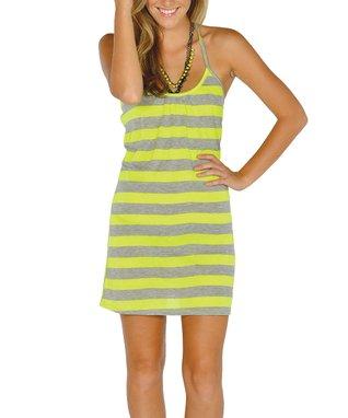 Neon Yellow Stripe Lace-Back Dress