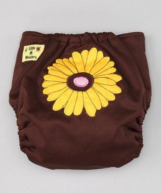 Little Monsters Brown Sunflower Pocket Diaper