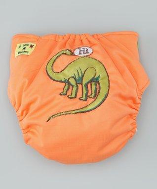 Little Monsters Orange Dino Pocket Diaper