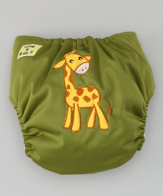 Little Monsters Olive Giraffe Pocket Diaper