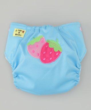 Little Monsters Light Blue Strawberry Pocket Diaper