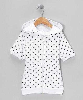 White Polka Dot Zip-Up Hoodie - Toddler & Girls