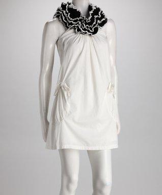 White Embellished Sheer Lace Shift Dress