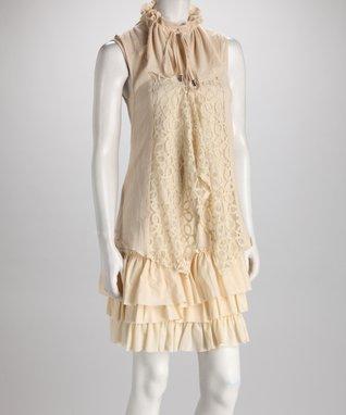 Cream Lace Ruffle Dress