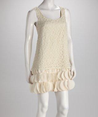 Beige Tie-Waist Dress