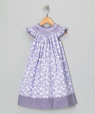 Purple Smocked Swirl Bishop Dress - Infant, Toddler & Girls