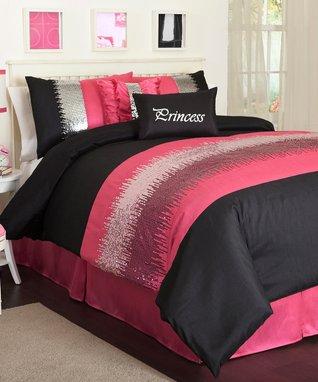Black & Pink Night Sky Comforter Set