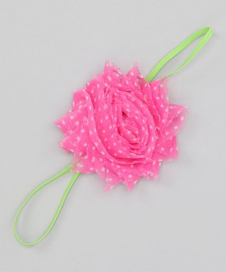 Pink & Lime Chiffon Flower Headband - Infant