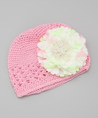 Pink & White Peony Crocheted Beanie