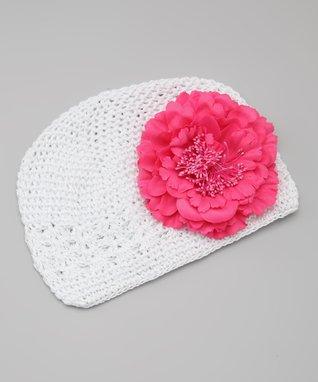 White & Pink Peony Crocheted Beanie