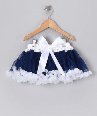 Navy & White Bow Pettiskirt - Infant, Toddler & Girls