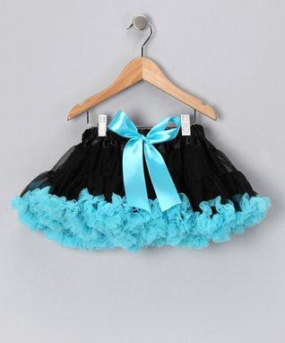 Black & Turquoise Bow Pettiskirt - Infant, Toddler & Girls
