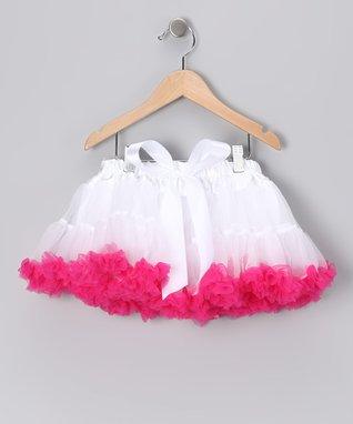 White & Hot Pink Bow Pettiskirt - Infant, Toddler & Girls