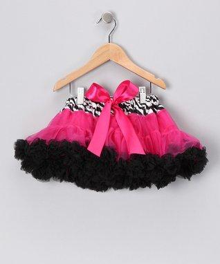 Hot Pink Zebra Bow Pettiskirt - Infant, Toddler & Girls