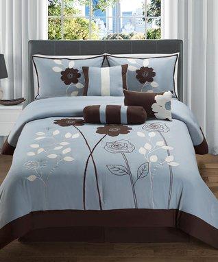 Red & White Leaf Comforter Set