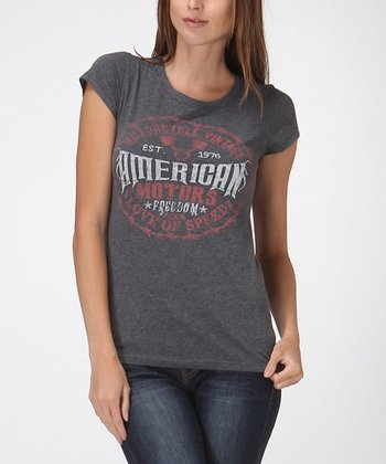 Charcoal Gray 'American Motors' Vintage Tee - Women