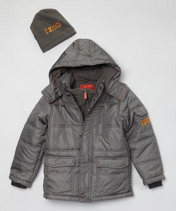 Charcoal Puffer Coat & Cap - Toddler & Boys