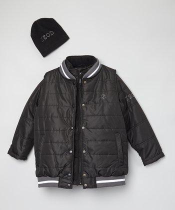 Black Varsity Systems Jacket & Beanie - Toddler & Boys