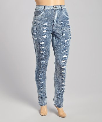 Blue Acid Wash Distressed Skinny Jeans - Plus