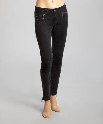 Black Zipper Pocket Skinny Pants